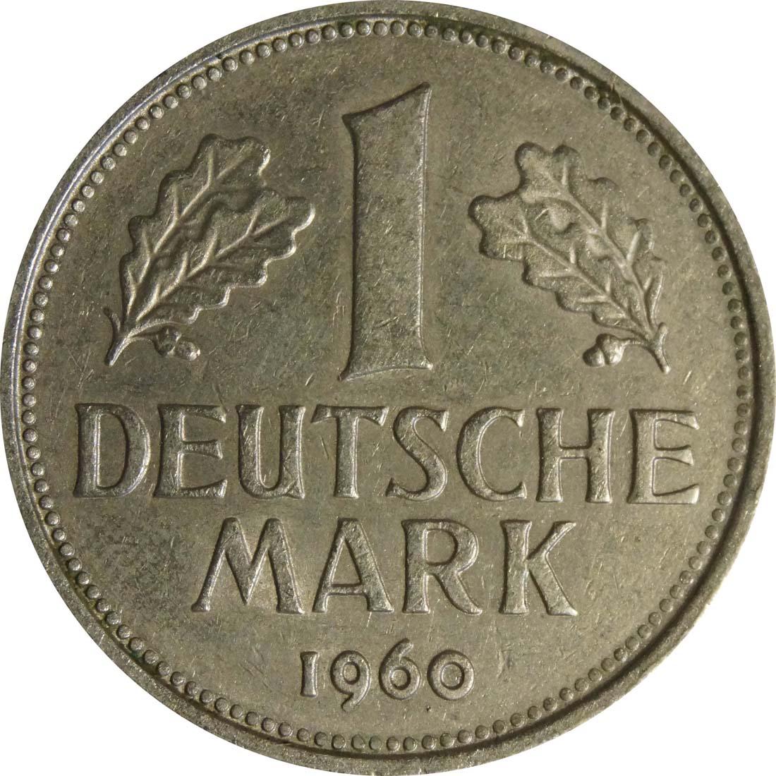 Vorderseite:Deutschland : 1 DM Kursmünze  1960 vz.