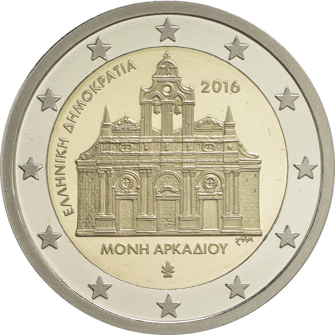 Rückseite:Griechenland : 2 Euro 150. Jahrestag der Brandstiftung im Arkadi-Kloster  2016 PP
