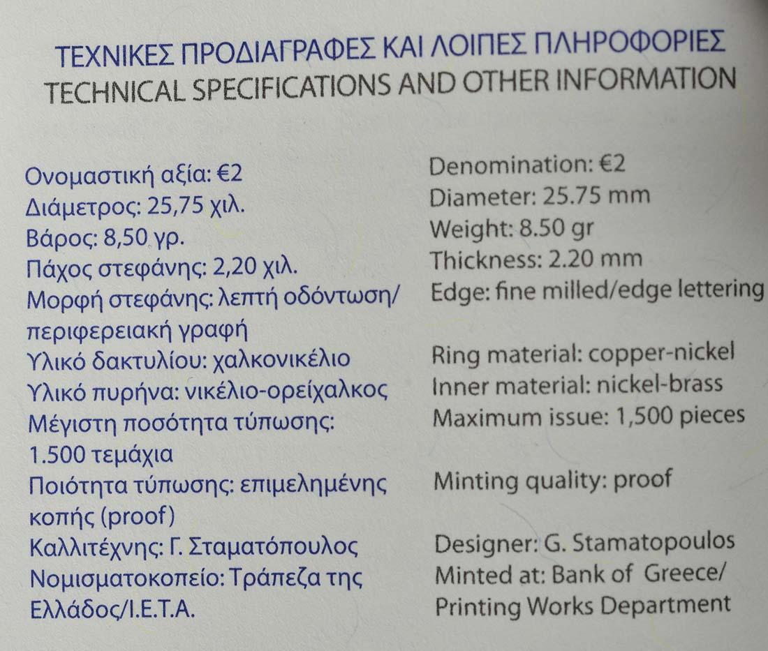 Zertifikat :Griechenland : 2 Euro 120. Geburtstag von Dimitri Mitropoulos  2016 PP