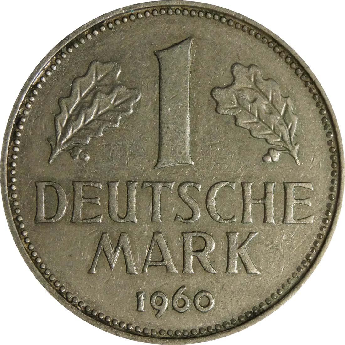 Vorderseite:Deutschland : 1 DM Kursmünze  1960 Stgl.