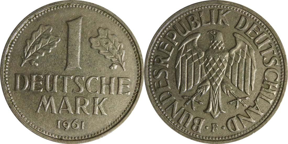 Lieferumfang:Deutschland : 1 DM Kursmünze  1961 vz.