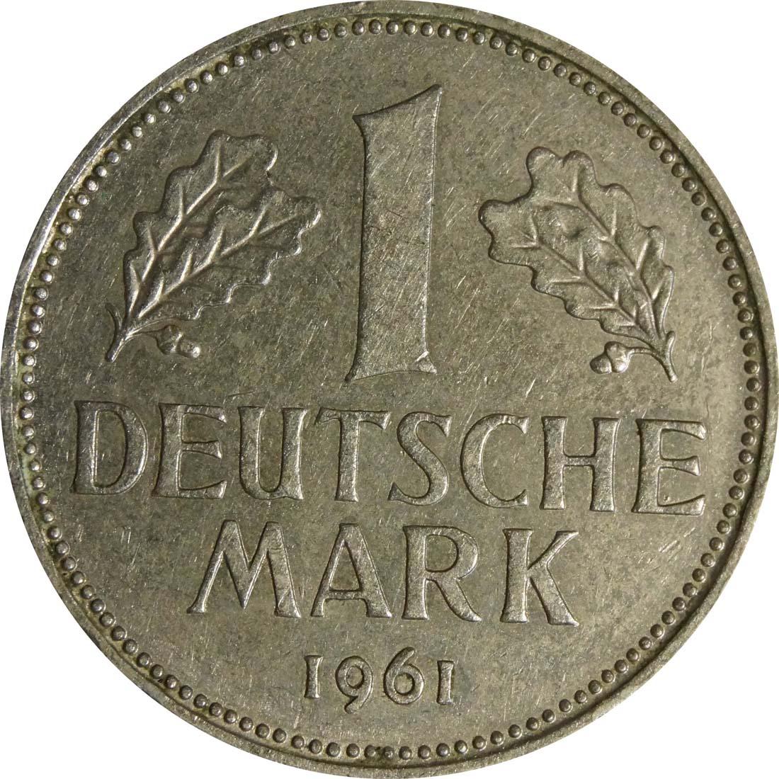 Vorderseite :Deutschland : 1 DM Kursmünze  1961 vz.