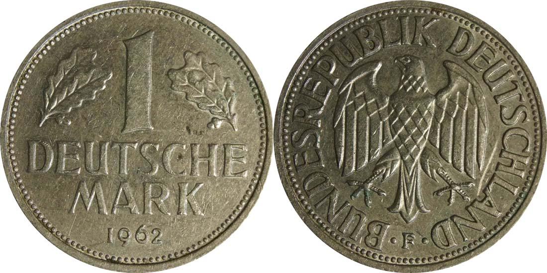 Lieferumfang:Deutschland : 1 DM Kursmünze  1962 vz.
