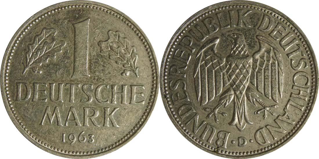 Übersicht:Deutschland : 1 DM Kursmünze  1963 vz.