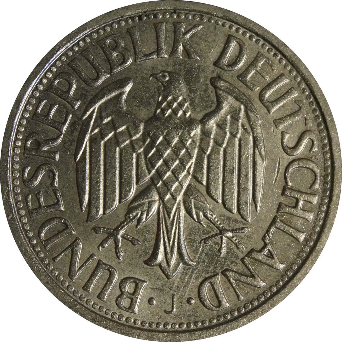 Rückseite:Deutschland : 1 DM Kursmünze  1963 vz/Stgl.