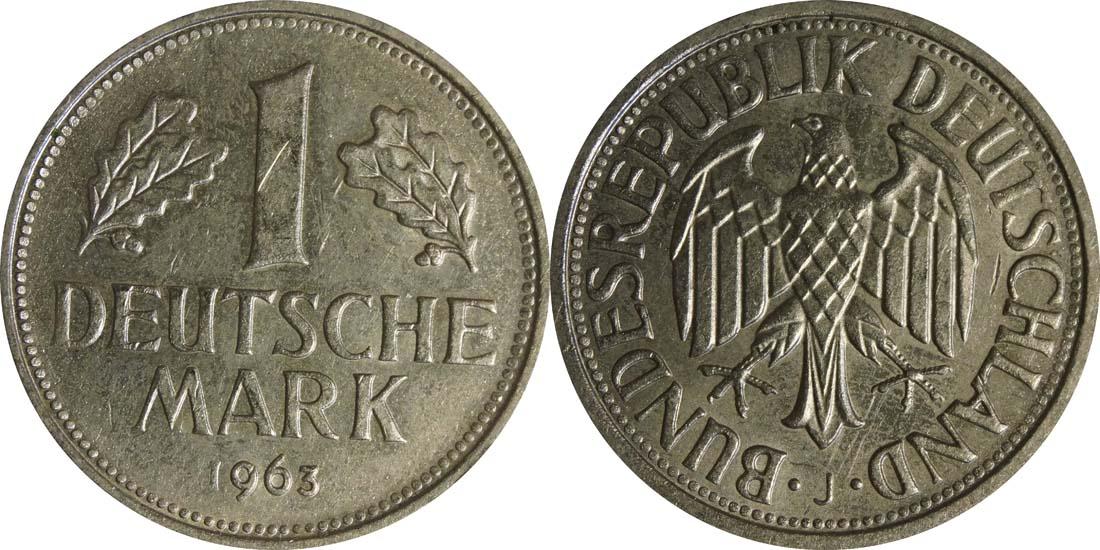 Übersicht:Deutschland : 1 DM Kursmünze  1963 vz/Stgl.