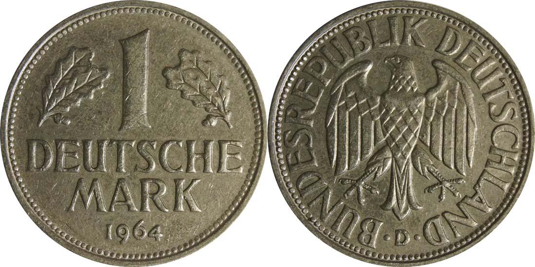 Deutschland : 1 DM Kursmünze  1964 vz/Stgl.