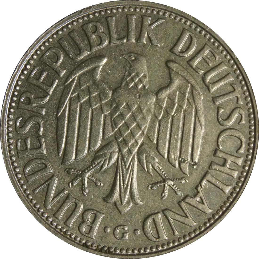 Rückseite:Deutschland : 1 DM Kursmünze  1964 vz.