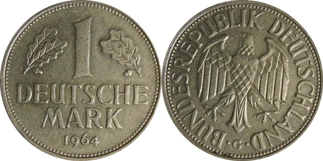 Lieferumfang:Deutschland : 1 DM Kursmünze  1964 vz.