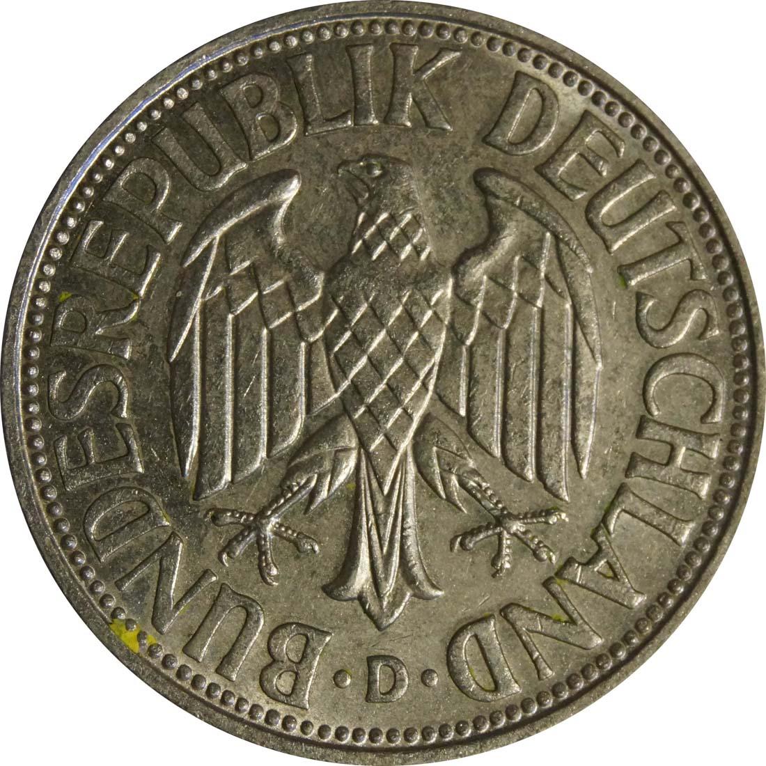 Rückseite :Deutschland : 1 DM Kursmünze  1965 vz/Stgl.