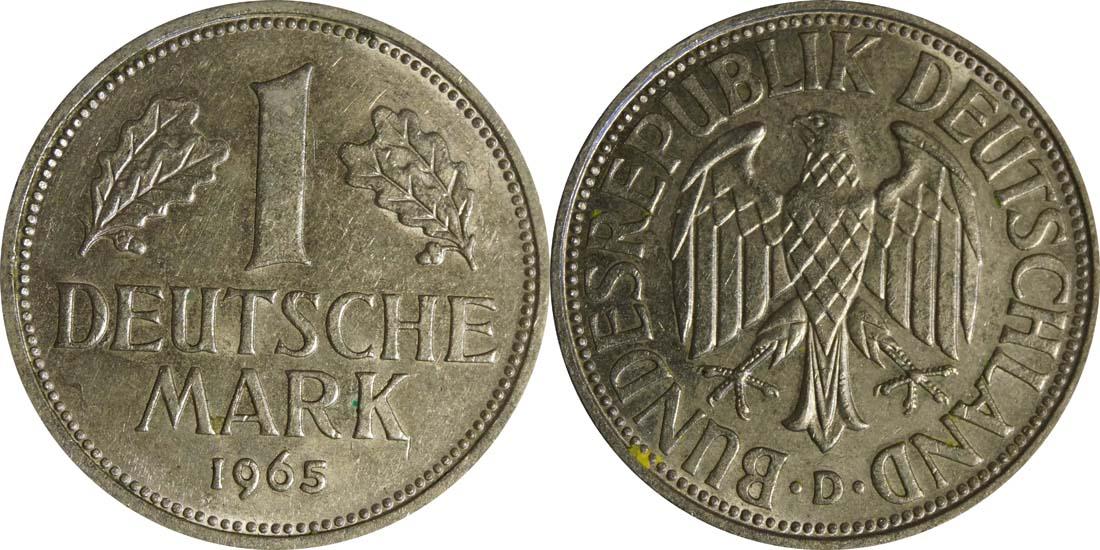 Deutschland : 1 DM Kursmünze  1965 vz/Stgl.