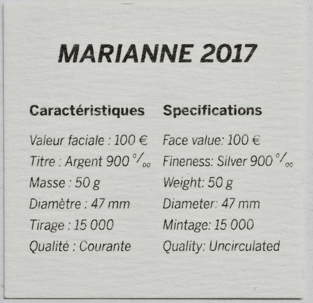 Zertifikat:Frankreich : 100 Euro Marianne  2017 Stgl.