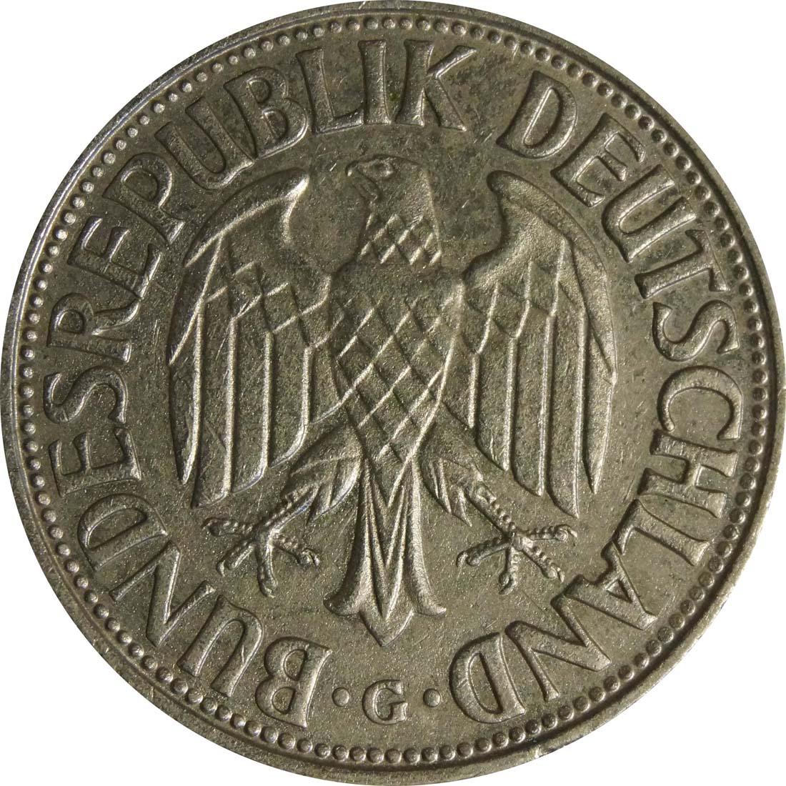 Rückseite:Deutschland : 1 DM Kursmünze  1965 vz.