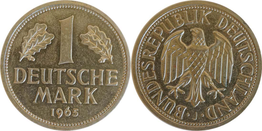 Übersicht:Deutschland : 1 DM Kursmünze  1965 Stgl.