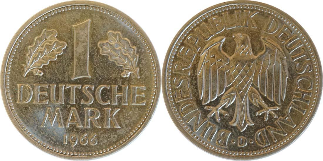 Lieferumfang:Deutschland : 1 DM Kursmünze  1966 Stgl.
