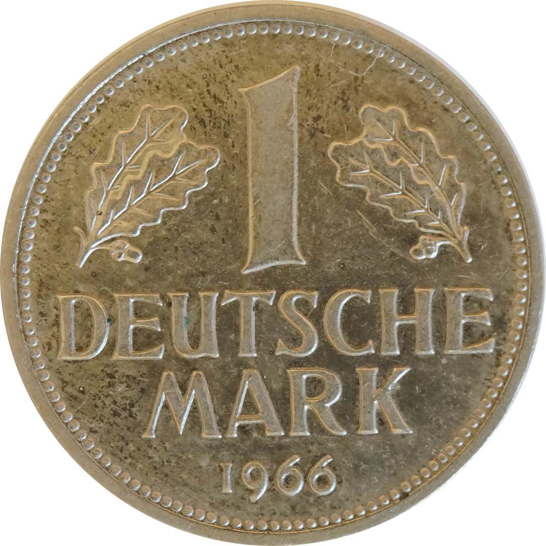 Vorderseite :Deutschland : 1 DM Kursmünze  1966 Stgl.