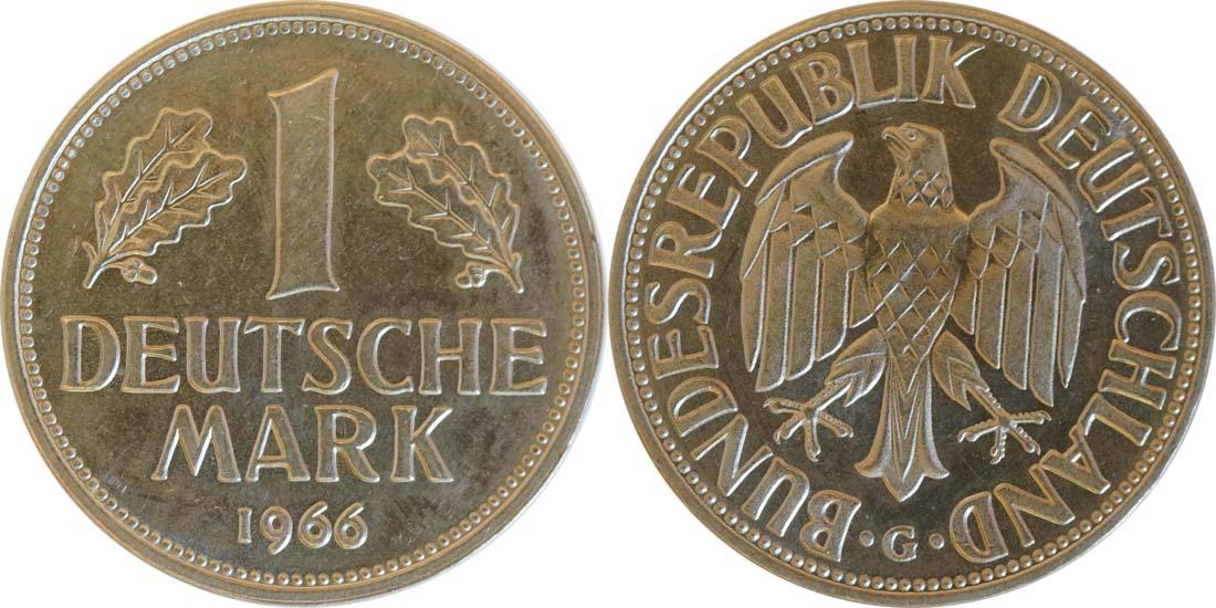 Deutschland : 1 DM Kursmünze  1966 Stgl.