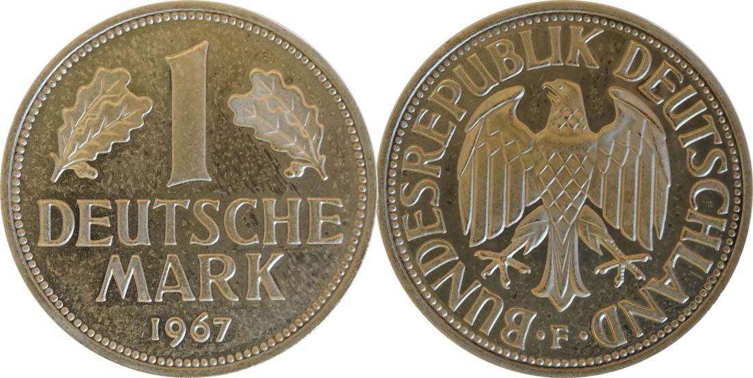 Übersicht:Deutschland : 1 DM Kursmünze -fein- 1967 Stgl.