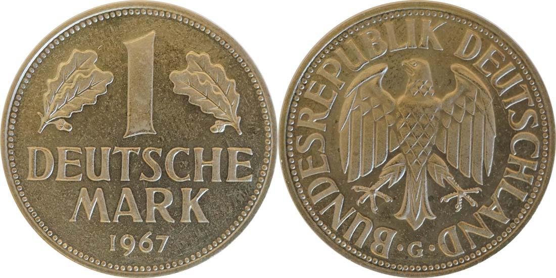 Deutschland : 1 DM Kursmünze -fein- 1967 Stgl.