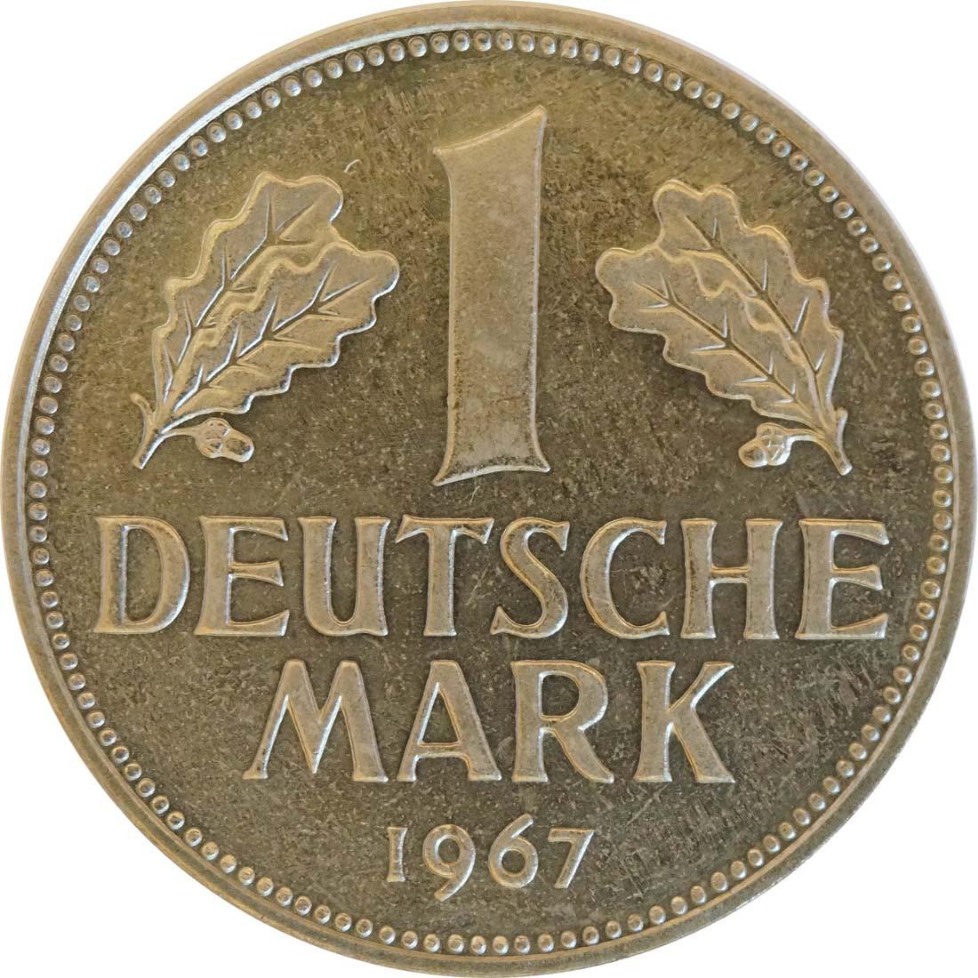 Vorderseite:Deutschland : 1 DM Kursmünze -fein- 1967 Stgl.