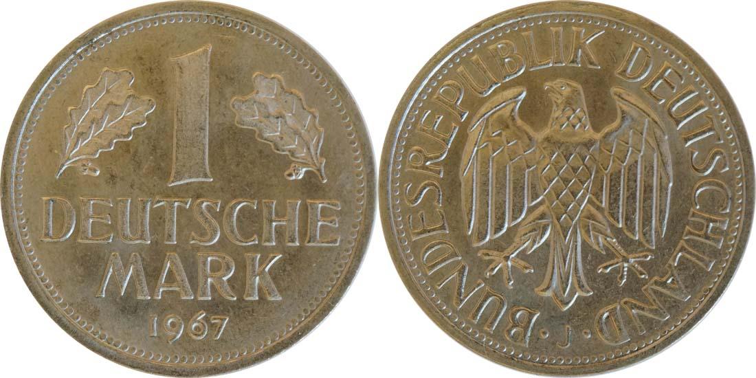 Übersicht:Deutschland : 1 DM Kursmünze  1967 Stgl.