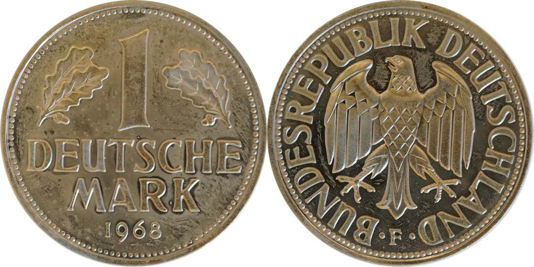Deutschland : 1 DM Kursmünze -fein- 1968 Stgl.