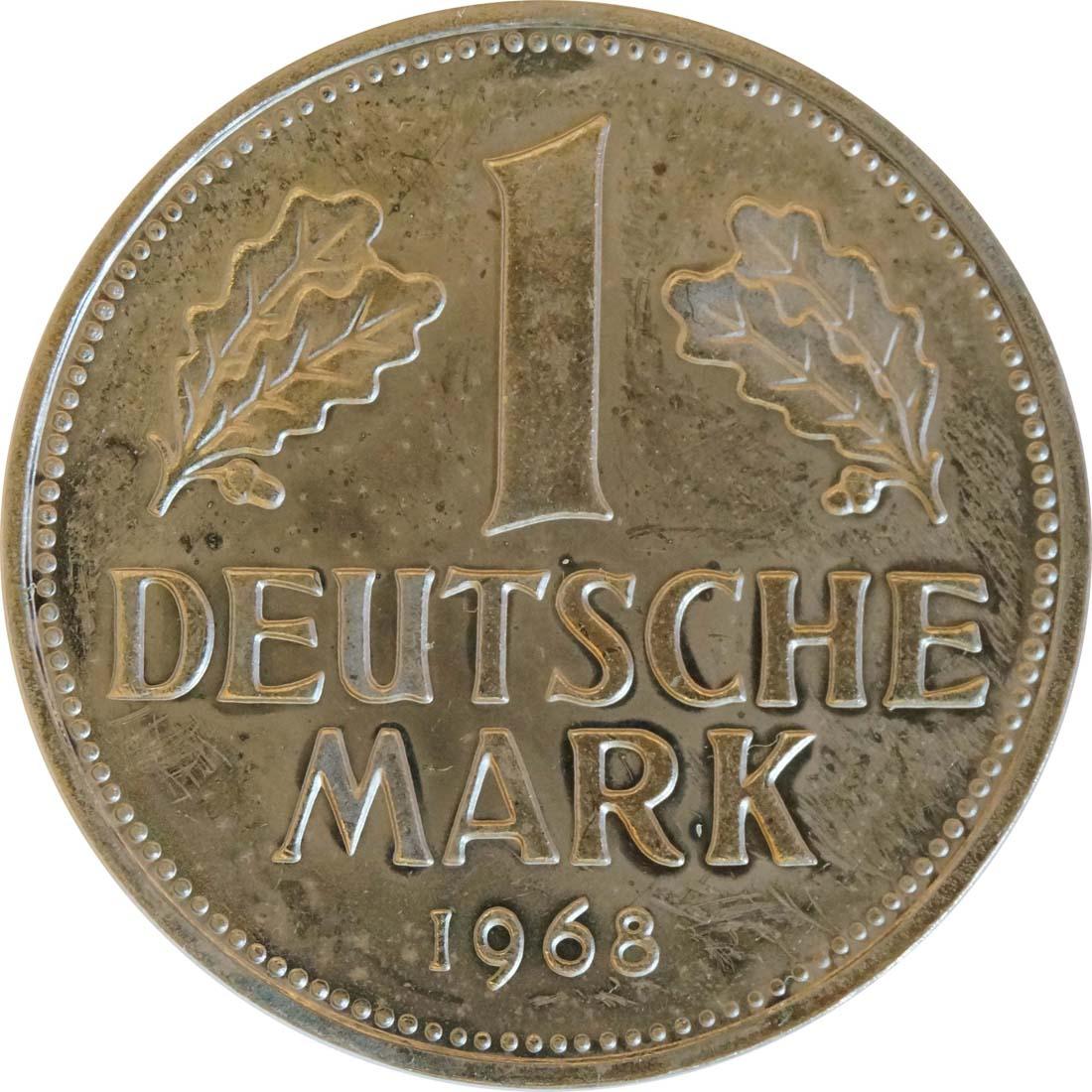 Vorderseite:Deutschland : 1 DM Kursmünze -fein- 1968 Stgl.