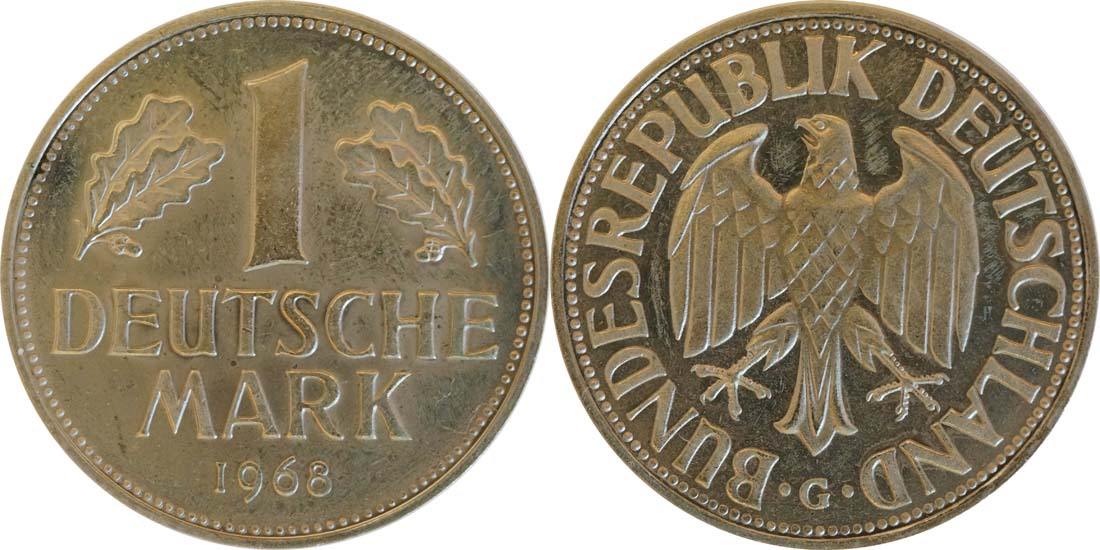 Übersicht:Deutschland : 1 DM Kursmünze -fein- 1968 Stgl.