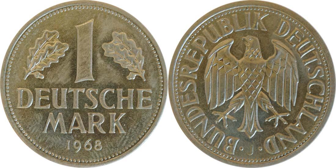 Deutschland : 1 DM Kursmünze -seltene Erhaltung- 1968 Stgl.