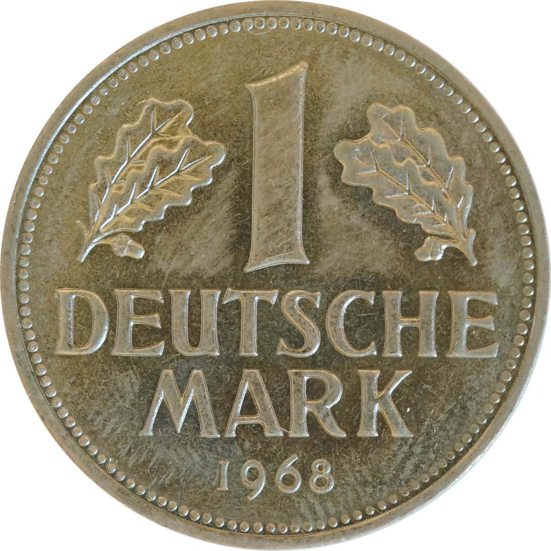 Vorderseite :Deutschland : 1 DM Kursmünze -seltene Erhaltung- 1968 Stgl.