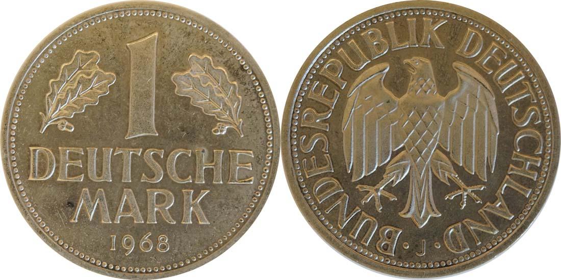 Deutschland : 1 DM Kursmünze -fein-, -seltene Erhaltung- 1968 Stgl.