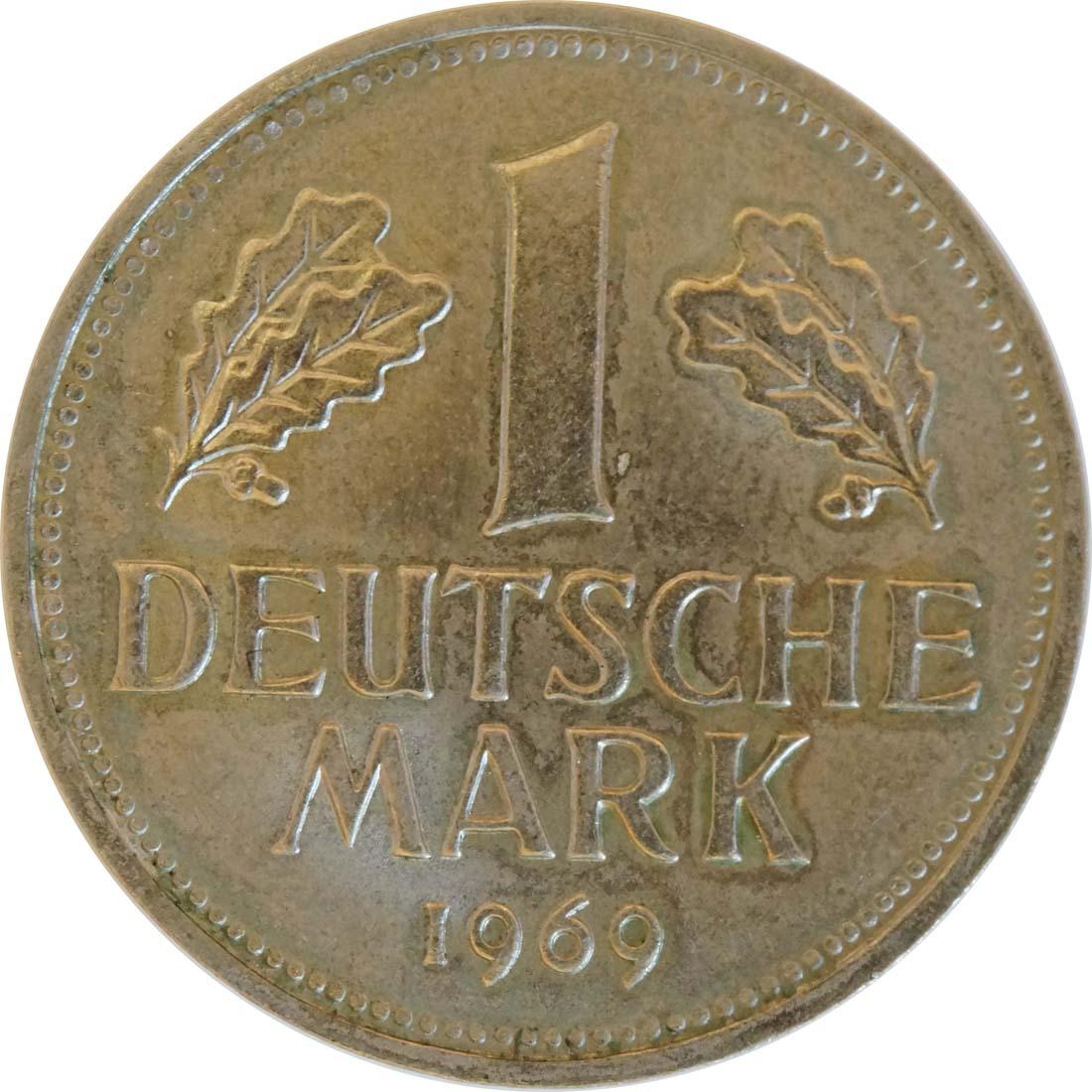 Vorderseite :Deutschland : 1 DM Kursmünze  1969 Stgl.