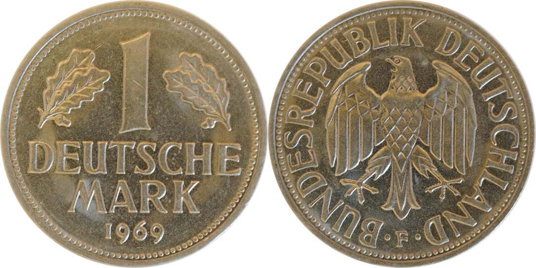 Lieferumfang:Deutschland : 1 DM Kursmünze  1969 vz/Stgl.
