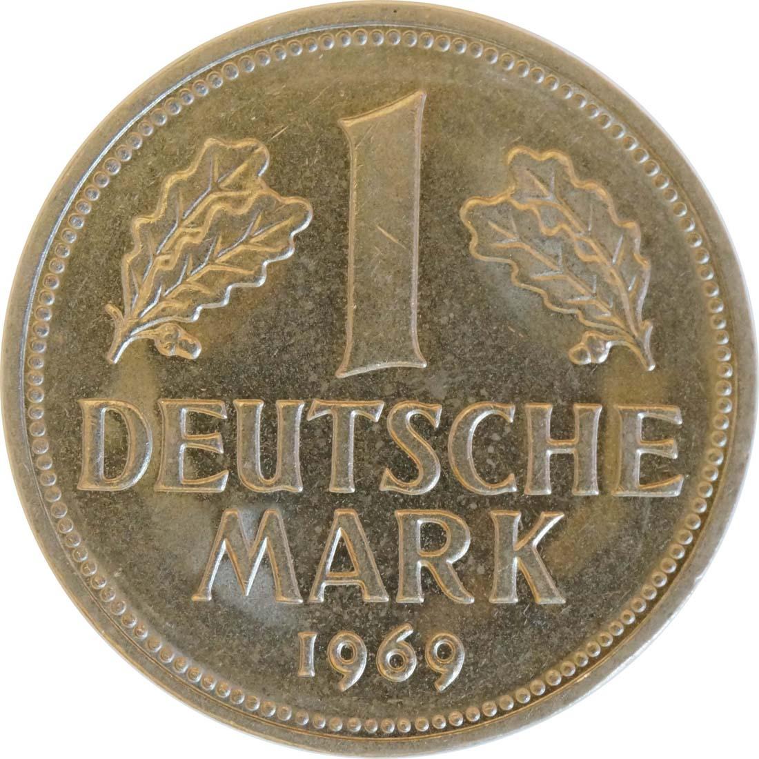 Vorderseite:Deutschland : 1 DM Kursmünze  1969 vz/Stgl.