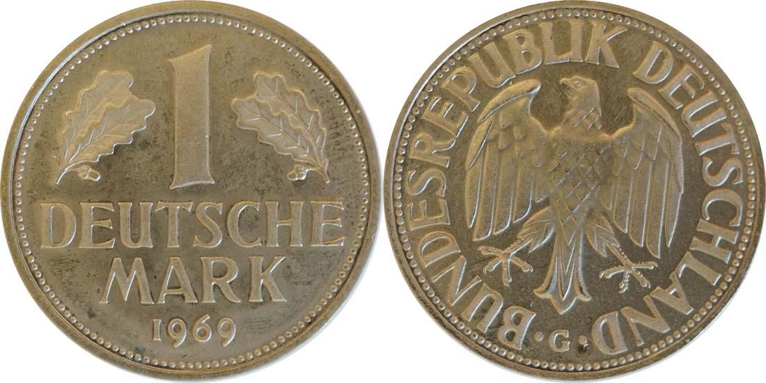 Lieferumfang:Deutschland : 1 DM Kursmünze  1969 PP