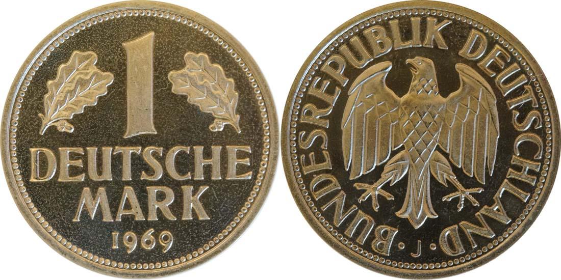 Deutschland : 1 DM Kursmünze  1969 PP