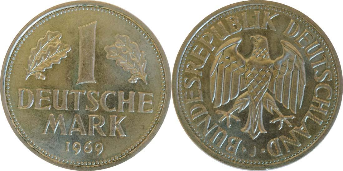 Übersicht:Deutschland : 1 DM Kursmünze  1969 Stgl.