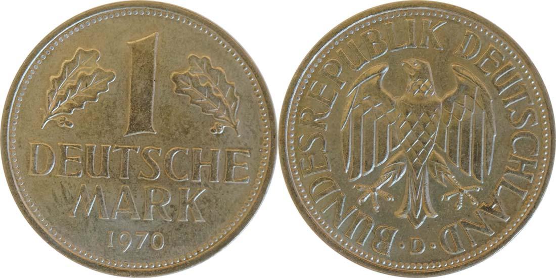 Übersicht:Deutschland : 1 DM Kursmünze  1970 Stgl.