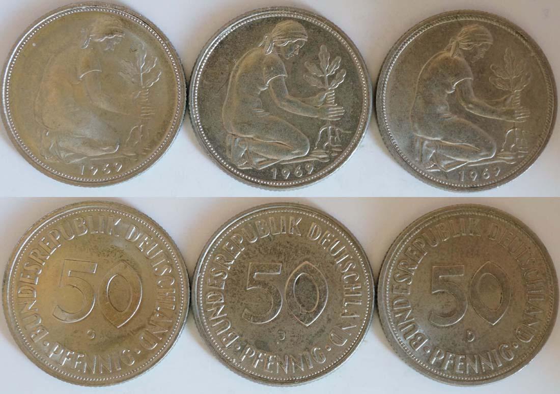 Deutschland : 1,5 DM LOT 3 Münzen à 50 Pfennig Mz D G J  1969 Stgl.