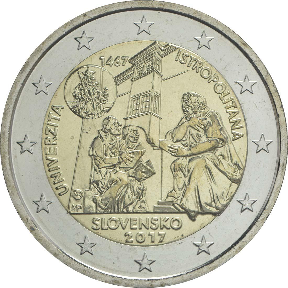 Rückseite:Slowakei : 2 Euro Universität Istropolitana - 550. Jahrestag  2017 bfr