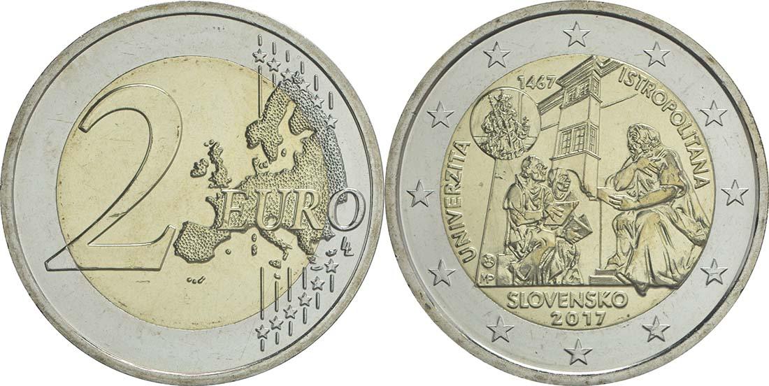 Übersicht:Slowakei : 2 Euro Universität Istropolitana - 550. Jahrestag  2017 bfr