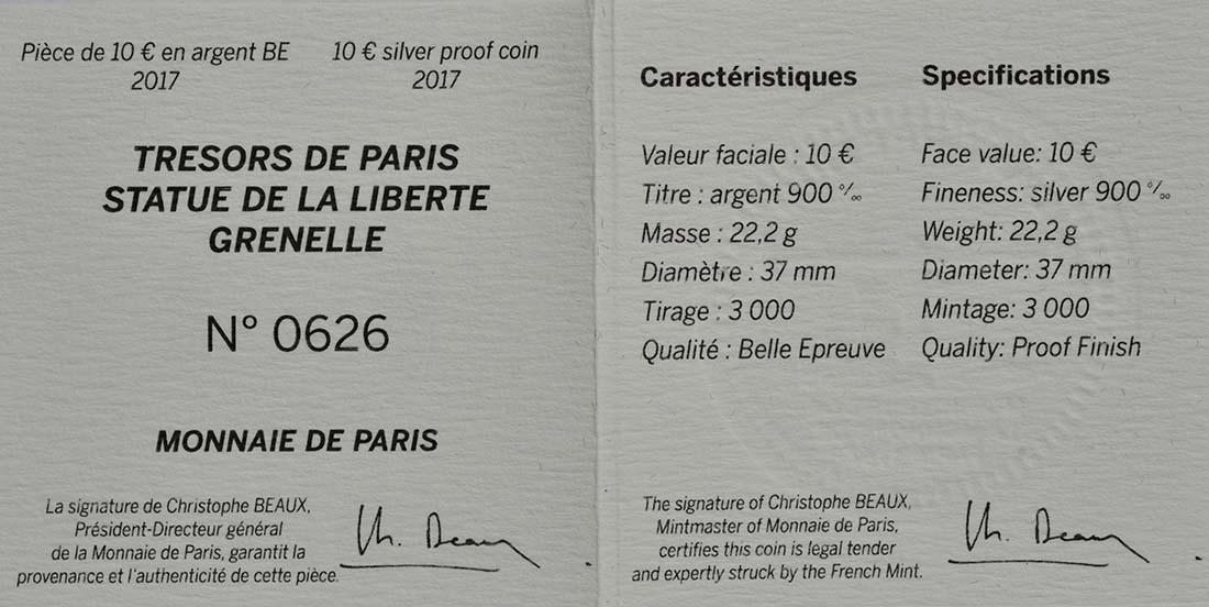 Zertifikat:Frankreich : 10 Euro Freiheitsstatue  2017 PP