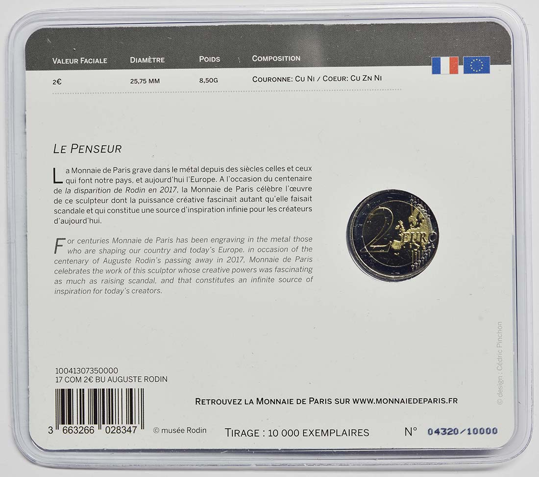 Zertifikat:Frankreich : 2 Euro Rodin  2017 Stgl.