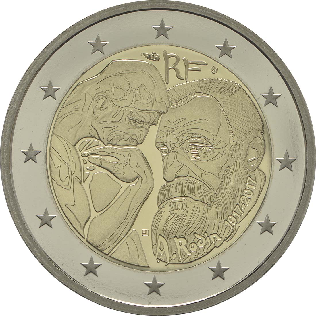Rückseite:Frankreich : 2 Euro Rodin  2017 PP