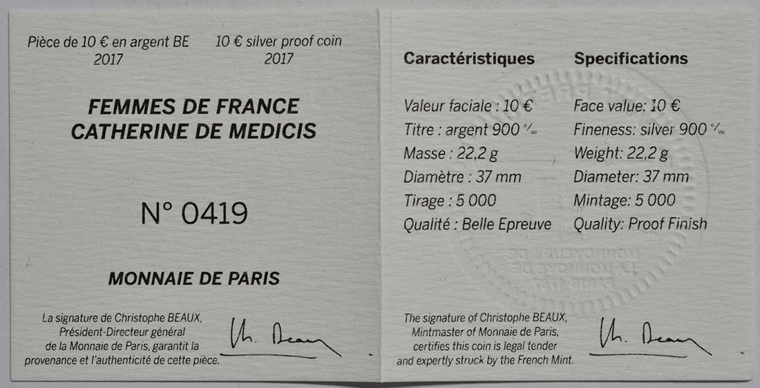 Zertifikat :Frankreich : 10 Euro Katharina von Medici  2017 PP