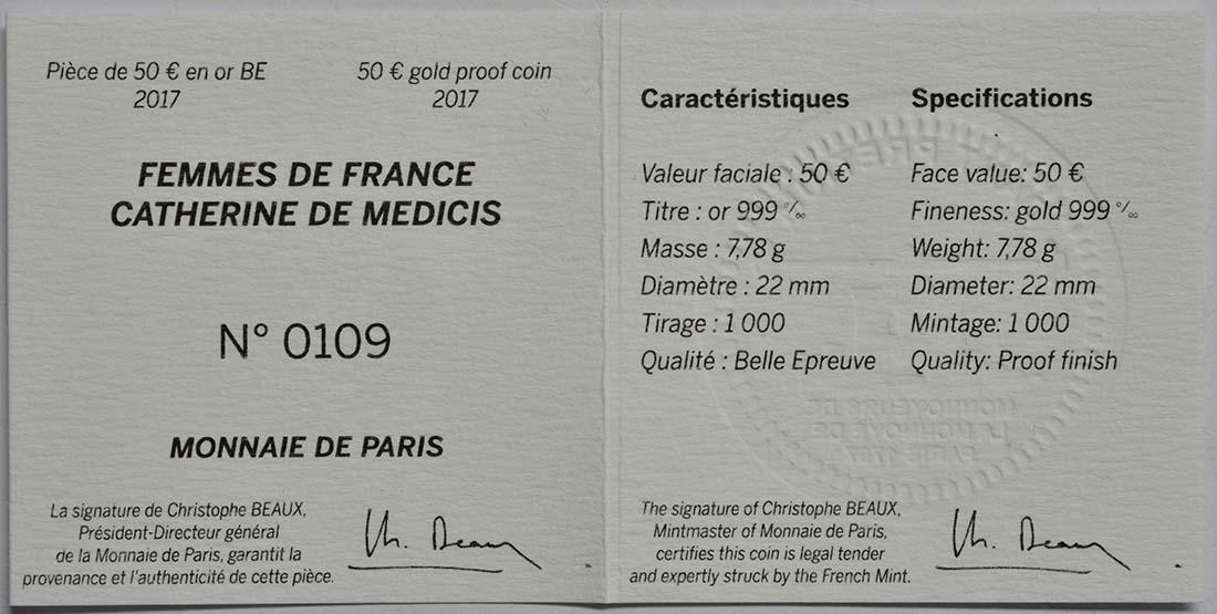Zertifikat :Frankreich : 50 Euro Katharina von Medici  2017 PP