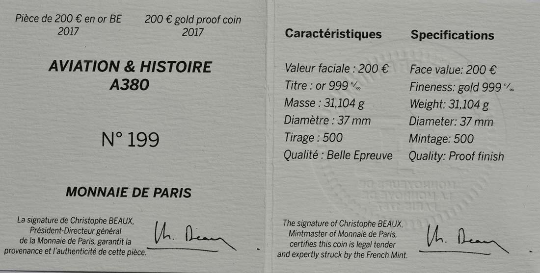 Zertifikat :Frankreich : 200 Euro A380  2017 PP