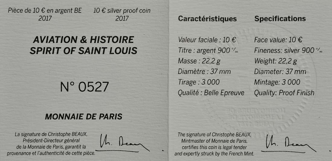 Zertifikat:Frankreich : 10 Euro Spirit of Saint-Louis  2017 PP