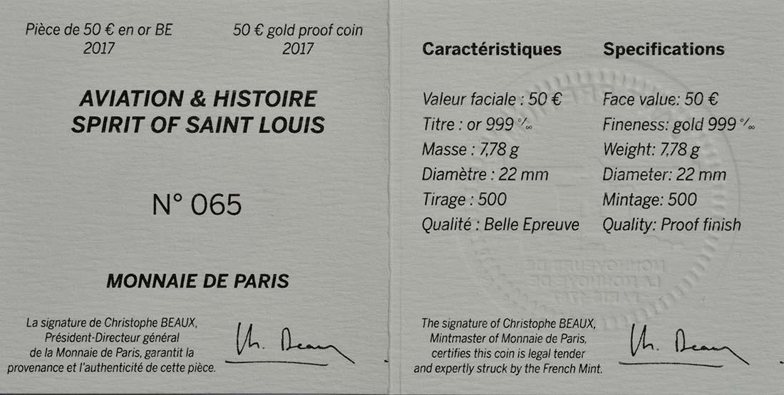 Zertifikat :Frankreich : 50 Euro Spirit of Saint-Louis  2017 PP