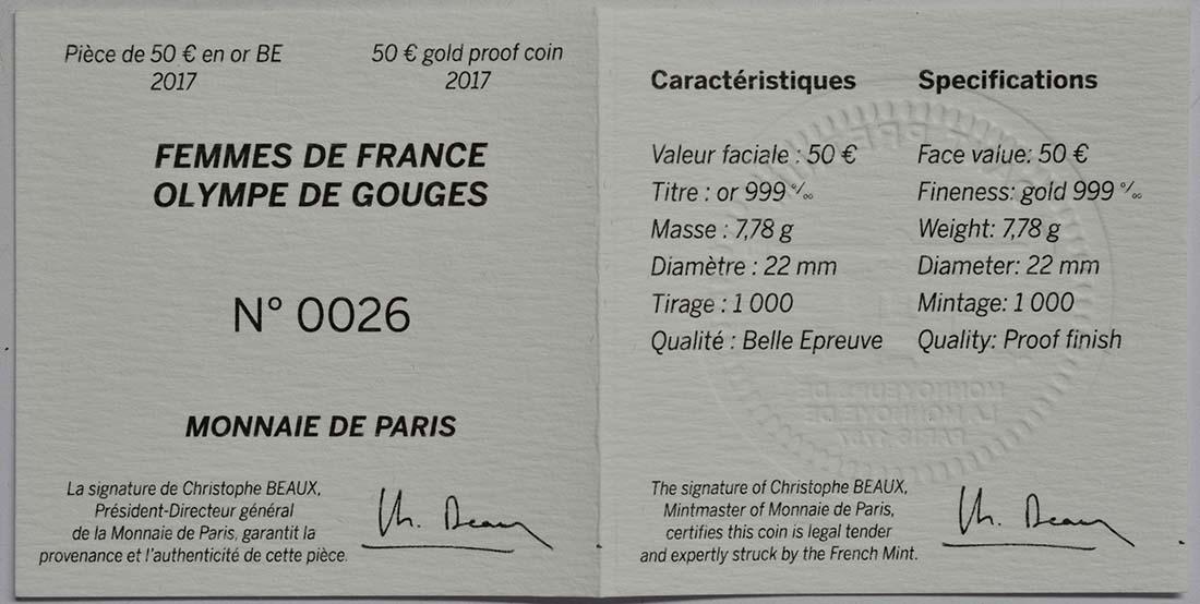 Zertifikat :Frankreich : 50 Euro Olympe de Gouges  2017 PP